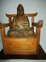 Bois Sculpture Statue de Bouddha Support Japonais Ancien Collection kg305