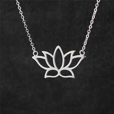 925 Sterling Silver Lotus Flower Yoga Zen Namaste Pendant Necklace Jewellery