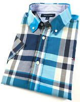 TOMMY HILFIGER Shirt Men's Short Sleeve Chambray Blue/ Grey Check Regular Fit
