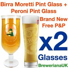 Set Of 2 Birra Moretti & Peroni Pint Glasses 20oz Brand New 100% Genuine
