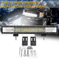 Quad-Row 20 Inch LED Work Light Bar Flood Spot Driving Fog Lamp Offroad Truck 2