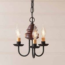 Bellview Small Three-arm Wooden Farmhouse Chandelier Light in Plantation Red