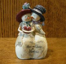 "Birch Hearts Snowmen Figurine #81100 ""Meet Me Under Mistletoe"" by BARB McDONALD"
