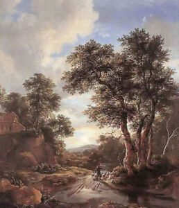 Oil painting jacob van ruisdael - sunrise in a wood landscape free shipping cost