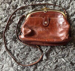 "Vintage Genuine Brown Leather ""The Bridge"" Crossbody Style Clasp Bag"
