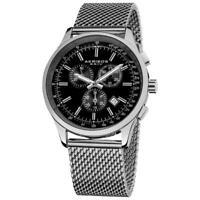 Akribos AK625SSB Swiss Quartz Chronograph Tachymeter Date Silvertone Mens Watch