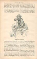 Métiers Arracheur de Dents Dentiste Singe Charlatan Dessin de Daret GRAVURE 1881