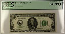 1928A Dark Green Seal $100 Federal Reserve Note Fr. 2151a-G PCGS 64 PPQ G/L