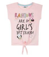 Girls Kids Official Disney Minnie Mouse Light Pink Short Sleeve T Shirt Top