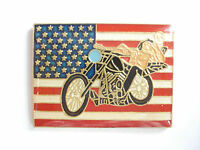 VINTAGE EASY RIDER FILM FLAG HARLEY DAVIDSON MOTORCYCLE BIKE PIN BADGE SALE 99p