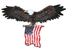 3D American Eagle Wall Hanging Sculpture Freedom's Pride With Flag Resin Statue