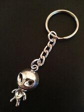 New Bright Silver Tone Metal Alien Keyring Keychain Bag Charm