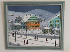 """Gabriel Donnet - """"Neige sur le hameau"""" - Tableau original - Art naïf -"""