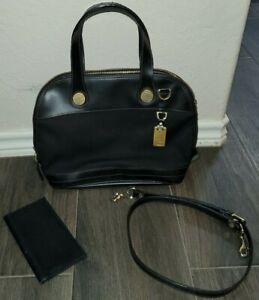 Dooney & Bourke Black Canvas Black Leather Domed Duffle Bag w Checkbook + Strap
