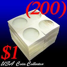 (200) Large Dollar Size 2x2 Mylar Cardboard Coin Flips for Storage   $1 Holder
