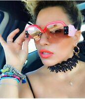 746| Sexy sans monture surdimensionné lunettes de soleil femmes Vintage