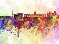 Painting Illustration Cityscape Paint Splash Skyline Dublin Canvas Art Print