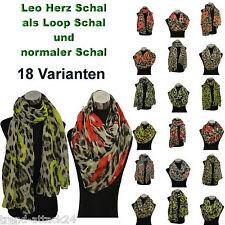 Leo Herz Schal Loop Leopard heart scarf Schlauchschal Rundschal Neon