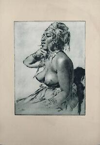 Hungarian Artist Pal Fried Original Signed Tinted Etching Nude Haitian Priestess
