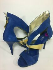 Guess BLUE SUEDE ZIP HEELS PUMPS Shoes Size 8 1/2 Electric Blue W/ Gold Exc Cond