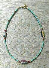 Afghan Natural Turquoise, Garnet, Roman glass Tiny Beads Anklet Ankle Bracelet
