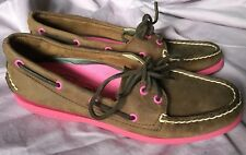 Sperry Womens Top Sider Brown with Coral Pink Accent, Size 7.5, Worn ONCE!