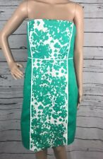 New York & Co. Pencil Dress Size 6 Teal Green White Floral Panel Strapless Sexy