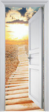 Adhesivo puerta de tronco trampantojo Chimenea Acostado del sol 90x200 cm ref