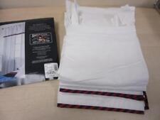 Bay Harbor Club Nautical Pure White Tab Top Curtain Panel Pair Red/Navy Trim