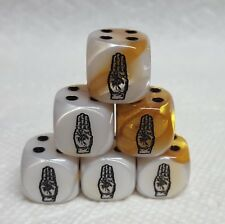 Dice - (6) *Boy Scout 3-Finger Salute* on 16mm Gemini Gold/White w/Black Hand #1