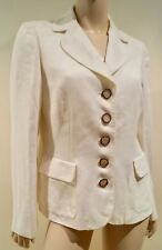 SALVATORE FERRAGAMO Women's Cream 100% Linen Collared Formal Blazer Jacket M