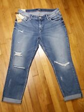 Silver Suki Ankle Slim Jeans Size 16 L 27 Cuffed Mid Rise Medium Distressed NWT