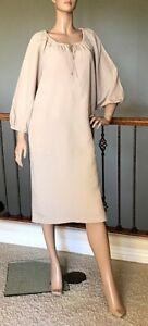 Bimba 3//4 Sleeve Linen Beige Collar Solid Flared Shirt Dress with Side Pockets