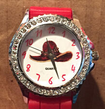 """NEW 9"""" Red Silicone Watch with Red Hat and Rhinestones for Society Lady"""
