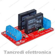 Modulo Relè SSR 2 Canale Relay Stato Solido 5V 2A Rele per Arduino Omron scheda