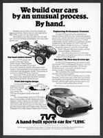 """1975 TVR Coupe photo """"Unusual Process: Built By Hand"""" vintage promo print ad"""