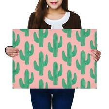 A2 | Pink Background Cactus Desert - Size A2 Poster Print Photo Art Gift #2503