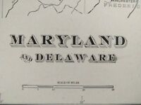 "MARYLAND DELAWARE 1903 Vintage Atlas Map 22""x14"" Old Antique REHOBOTH SALISBURY"