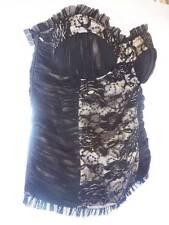 Couture Las Vegas Showgirl Designer Black Sequin Lace Bustier Corset Sz S