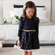Toddler Kids Girls Polka Dot Long Sleeve Dress Princess Party Tulle Tutu Dresses