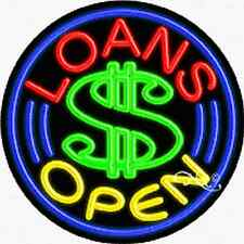"Brand New ""Loans Open"" 26x26x3 Round Real Neon Sign w/Custom Options 11155"