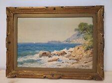 aquarelle R. L. Jury Vue de la côte méditerranéenne, vers 1950-1960