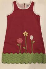 New Hartstrings Girls Embroidered Tulip Flower Shift Dress Ric Rac Design Size 7