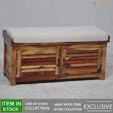 SHUTTER solid wood bedroom bench seat storage blanket box linen trunk chest B