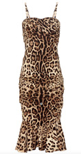 DOLCE & GABBANA $3595 Ruched Leopard Silk Cocktail Dress IT48 (US10-12)BNWT