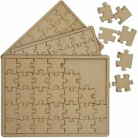 3 Pack Blank Unfinished Wood Jigsaw Puzzle Cutout Slices DIY Decor Art Crafts