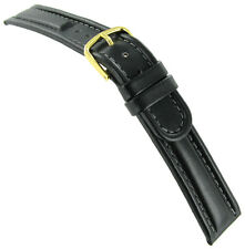 20mm Hirsch Mustang Black Genuine Leather Padded Stitched Watch Band Strap
