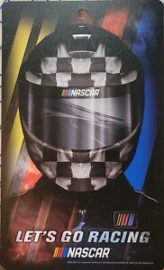 "NASCAR Wall Sign Racing Helmet 7""x12"" Plastic Wall Decor Lets Go Race"