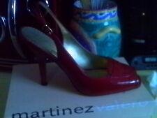 MARTINEZ VALERO RED PATENT PEEP TOE SLINGBACKS 7.5 M RETRO MODERN