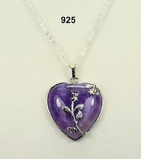 Purple natural amethyst heart pendant necklace, silver-plated details & chain